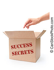 Success secrets - Hand reaching into a box labeled success...