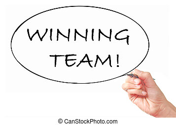 Winning team - Hand written winning team on a whiteboard