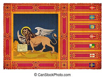 Grunge flag of Venetia Italy - Flag of the italien region...