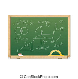 Vector green chalkboard with mathematics symbols for...
