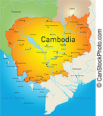 Cambodia - Vector map of Cambodia country