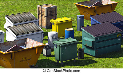 Dumpsters and skips on the grss