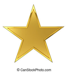 Golden Star Award - Hammered Golden Star Award Isolated on...