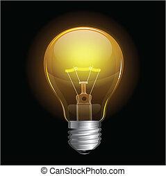 Vector Light bulb isolated on black
