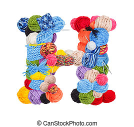 Letter H made of knitting yarn isolated on white background