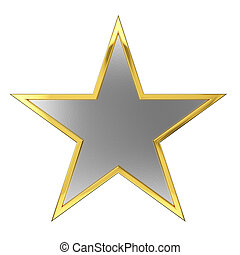Golden Star Award with Silver Blank Space. Isolated on white...