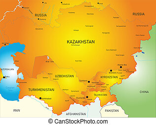 Central Asia - Vector map of Central Asia countries