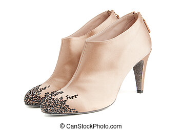 Beige women ankle boots - Stylish beige women decorated...