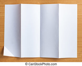 Empty white Crumpled paper on wood background horizontal