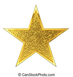 Hammered Golden Star Award. Isolated on white background.