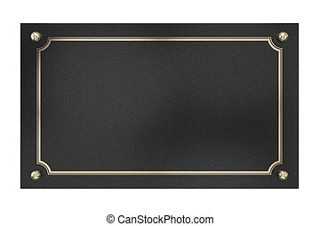 Metal Plaque Isolated on white - 3D Metal Plaque Isolated on...