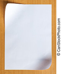 Blank White Paper on wood background