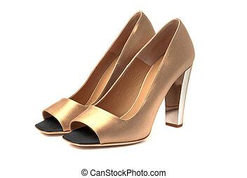 élevé, Femmes, chaussures, talon,  beige