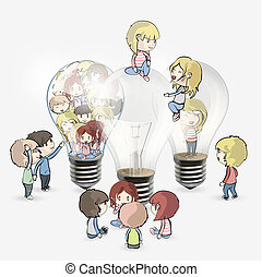 Several kids around bulb. Vector design.