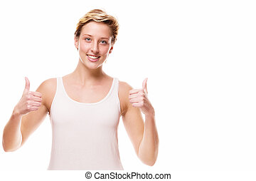 smiling woman showing thumbs up on white background