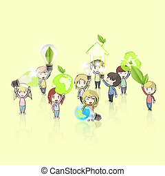 Kids holding ecological icons and eco bulbs. Vector design.