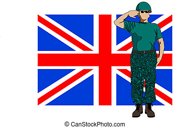 British flag and soldier - Vector drawing of a soldier in...