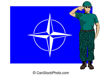 Nato flag and soldier - Vector drawing of a soldier in...