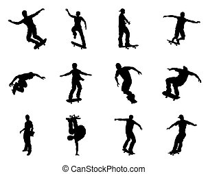 Skateboarder silhouettes - Very high quality and highly...