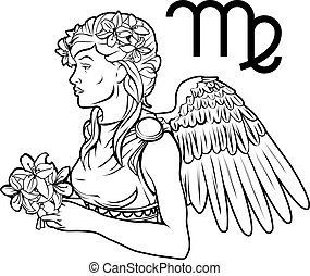 Virgo zodiac horoscope astrology sign - Illustration of...