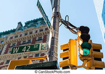 Times Square street sign - the intersection of 42nd street...