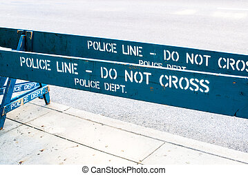 POLICE LINE - DO NOT CROSS - Wooden blue Police barrier...