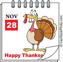 Thanksgiving Holiday Calendar With Cartoon Turkey