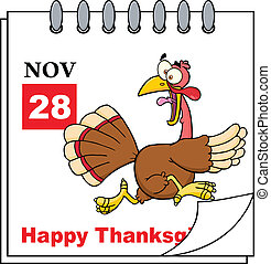 Calendar With Cartoon Turkey Escape