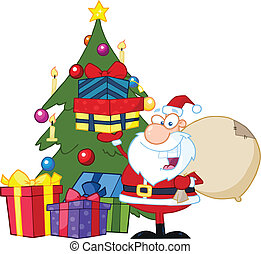 Jolly Santa Claus Holding Gifts - Jolly Santa Claus Holding...