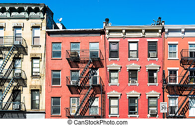 Typical New York Facades - fire laddesrs at beautiful...