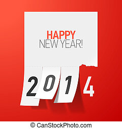 Happy New Year 2014 greetings illustration