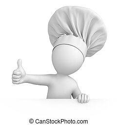 Chef with thumb up. 3d image with a work path