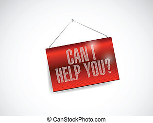 can I help you hanging banner illustration design over a...