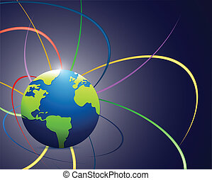 globe and color waves lines illustration design