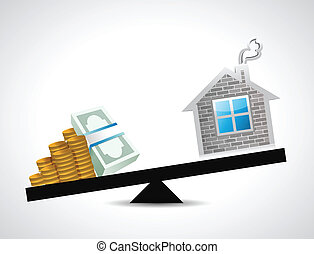 money and home balance illustration design over white