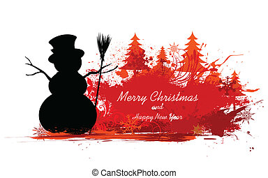 Snowman in Christmas Snowflakes Background