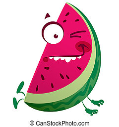 Cartoon pink watermelon fruit character making a crazy face...