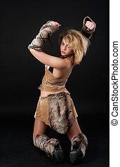 Pretty funny barbarian girl - Young beautiful woman in...