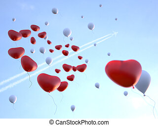 Soaring Balloons in Valentine's day - Soaring high in the...