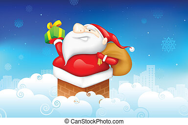 Santa CLaus - illustration of Santa CLaus entering through...