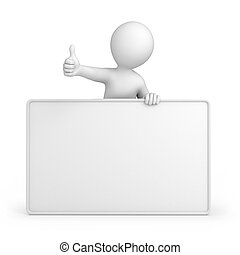 thumb up and blank board. 3d image with a work path