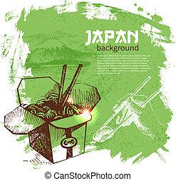 Hand drawn vintage Japanese sushi background