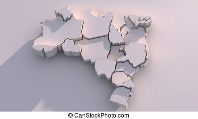 Brazil Map With States - 3D map of federative republic of...