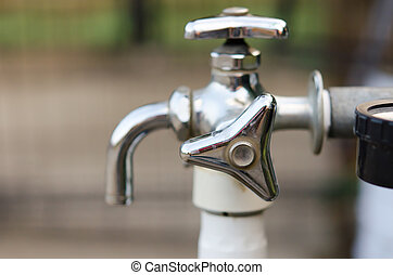faucet water - Of stainless steel faucet is turned off