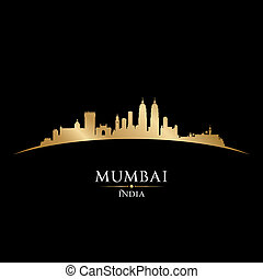 Mumbai India city skyline silhouette black background