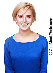 Young beautiful woman in blue sweater isolated on white background