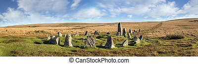 Dartmoor Stone Circle at Down Tor - Stone Circle and Stone...