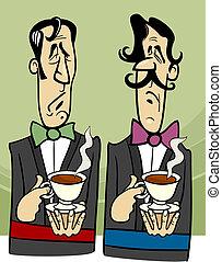 dignified gentlemen cartoon illustration - Cartoon...