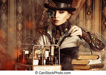 sacrament - Portrait of a beautiful steampunk woman over...