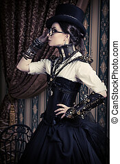 female steampunk - Portrait of a beautiful steampunk woman...